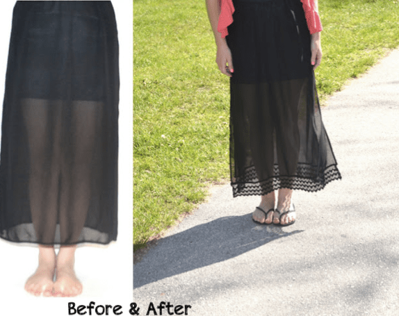 adding lace and length to a skirt