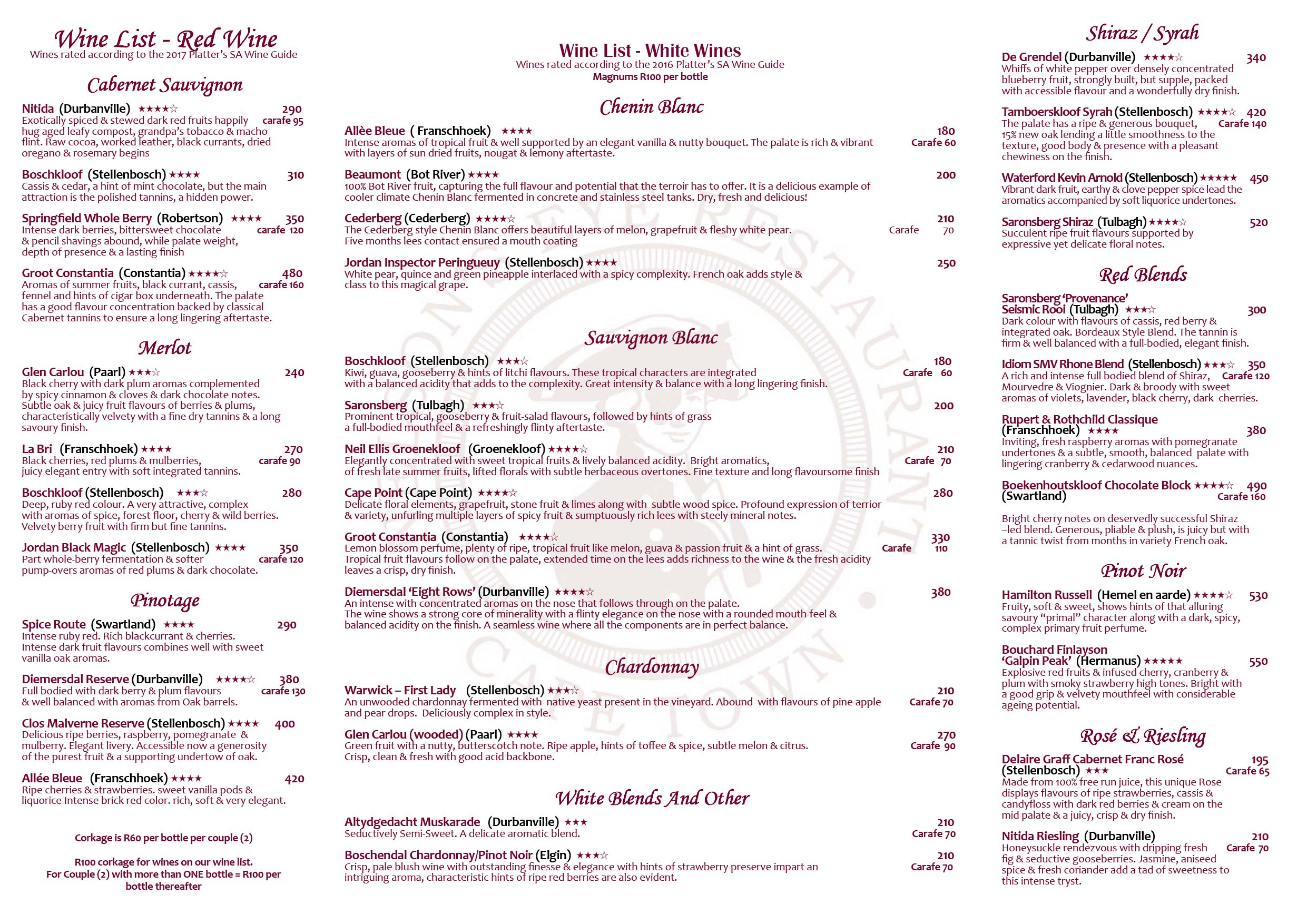 Cucina And Co Wine List Wine List » Nelsons Eye Restaurant