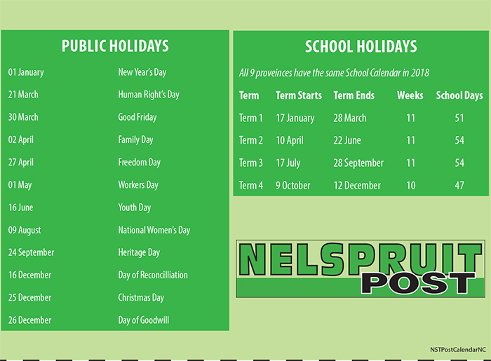 Get your free 2018 calendar in this week\u0027s print edition Nelspruit