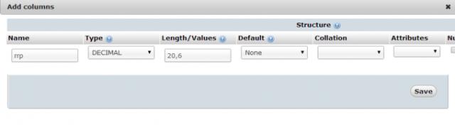 Adding the RRP price field in Pretashop's Database