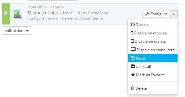 How to add new Color Schemes to the Prestashop 1.6 Theme - Resetting the live configurator module