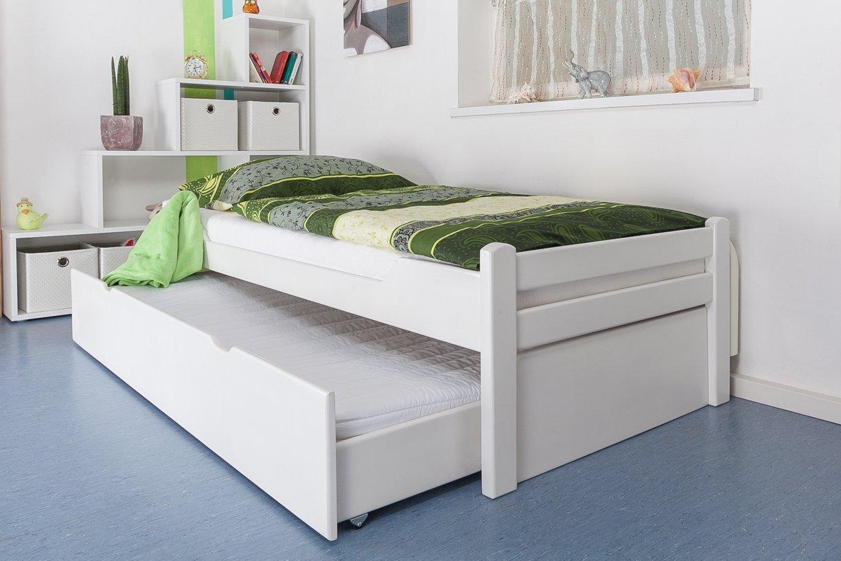jugendbett mit ausziehbarem g stebett flexa classic 3 in 1 trapez etagenbett mit schr ger. Black Bedroom Furniture Sets. Home Design Ideas