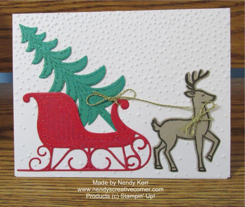 Santa's Sleigh will Christmas Tree and Reindeer Card