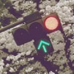 信号機と桜の写真素材