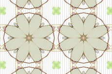 平面的な花のモチーフの幾何学模様(4パターン)