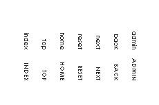 極小アルファベットの縦書きテキストメニュー(透過GIF)