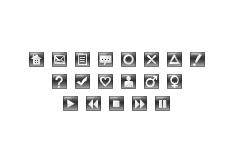 ガラスのような質感の正方形のアイコン(16パターン)