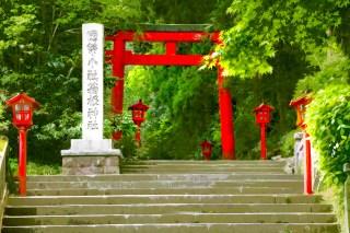 青紅葉と箱根神社 差分:日中/夕方/夜