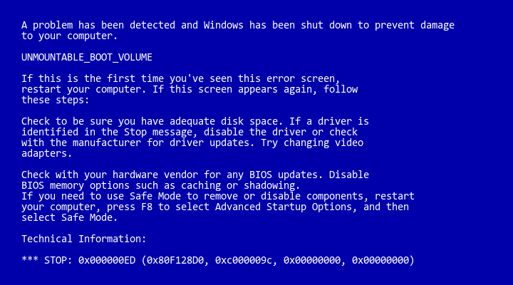 Unmountable Boot Volume Bsod Fix For Windows Xp Vista And 7