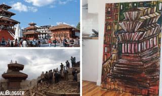 Kathmandu Durbar Square Painting Nepal Earthquake