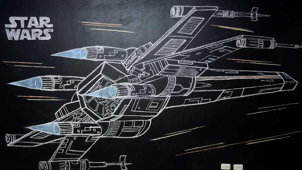 Iphone X Blueprint Wallpaper Star Wars X Wing Chalk Art Is Ready To Jump Into
