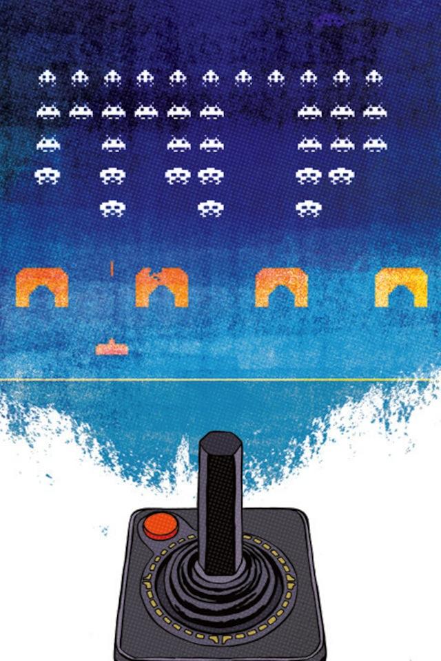 iPhone Wallpaper #6 – Videogame atari space invaders