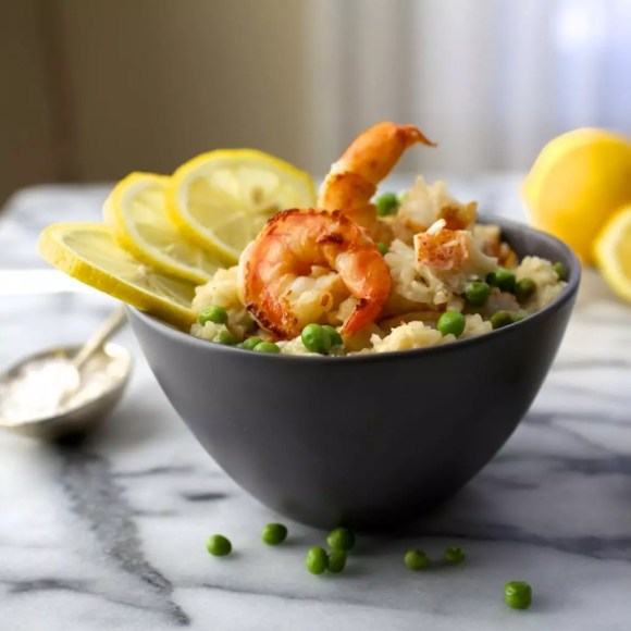Shrimp and Lobster Risotto with Peas