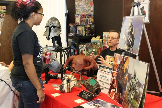 Prop and costume maker Allen Amis discussed costuming at his booth at the event.