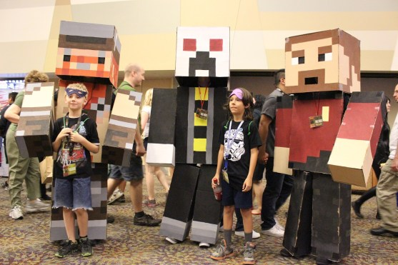 Minecraft style costumes.