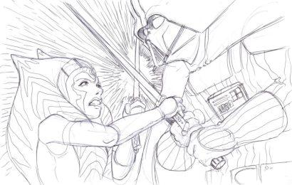darth-vader-ahsoka-tano-duel-sketch