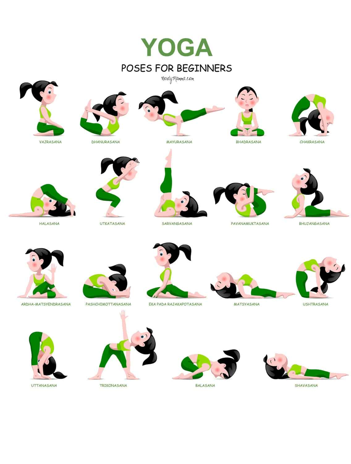 yoga poses for beginners with a free printable