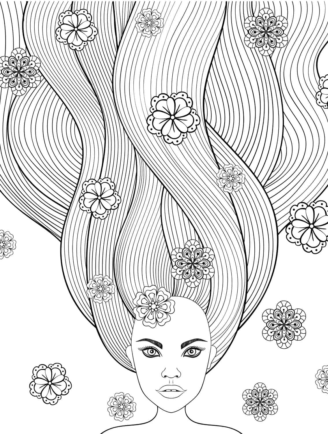 download free printable adult coloring pages with long hair