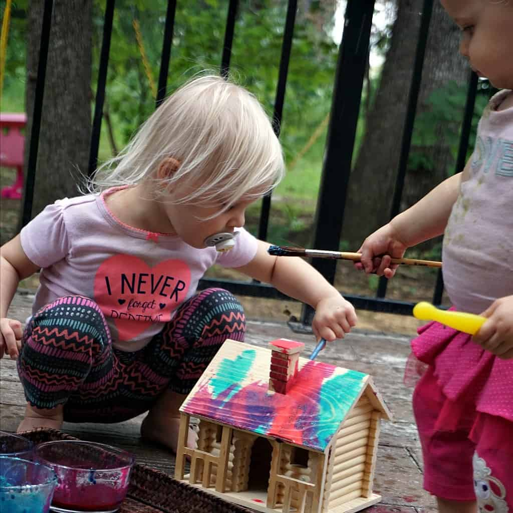 Glitter Finger Paint Recipe and Painting in the Rain