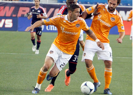Former Houston Dynamo midfielder/defender Geoff Cameron, seen here in action against the Revolution last year, would welcome the opportunity to play in MLS again. (Photo: Chris Aduama/aduama.com)