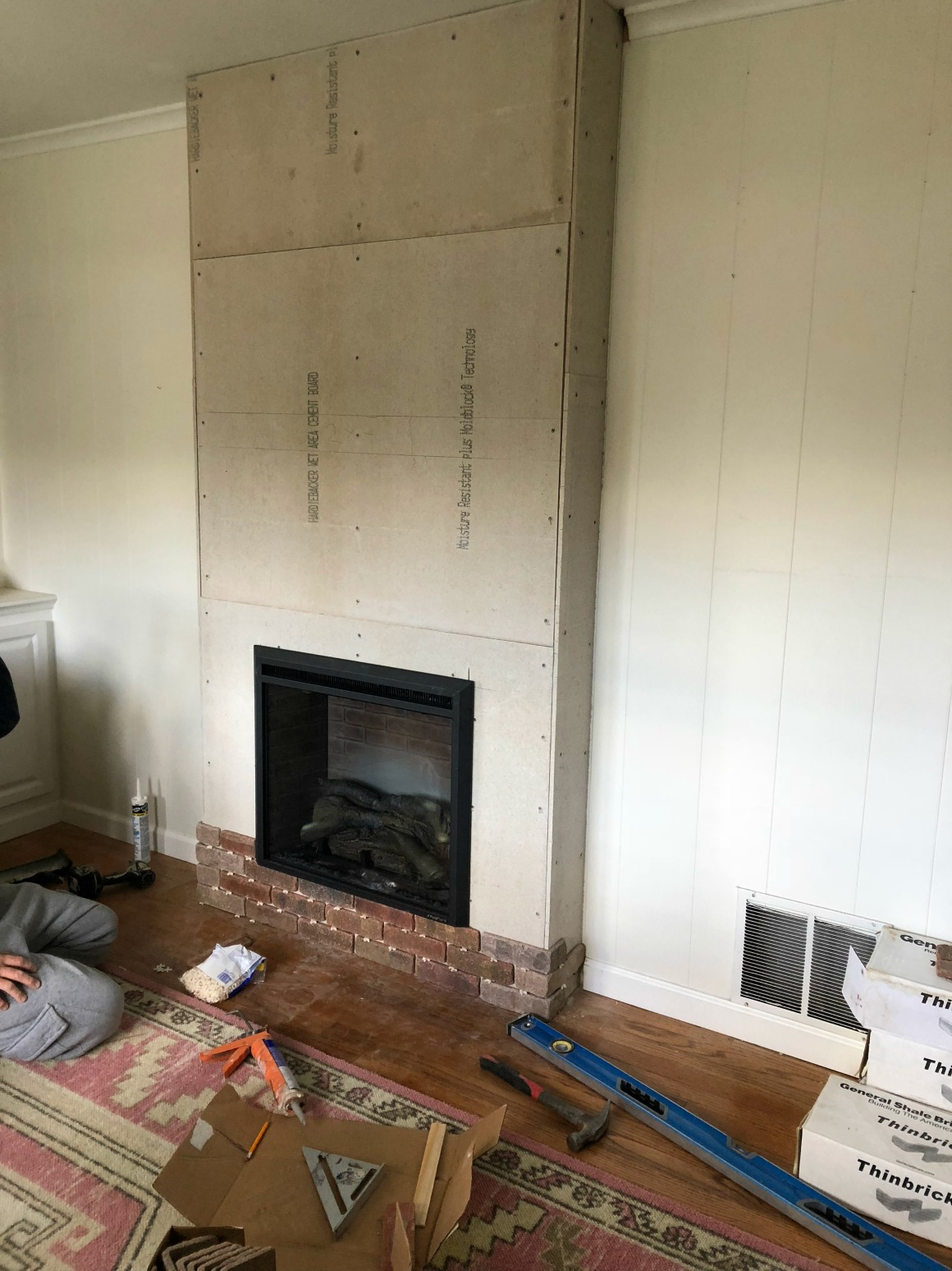 Brick Fireplace Wood Mantel Fireplace Reveal Our Electric Brick Fireplace Nesting With Grace