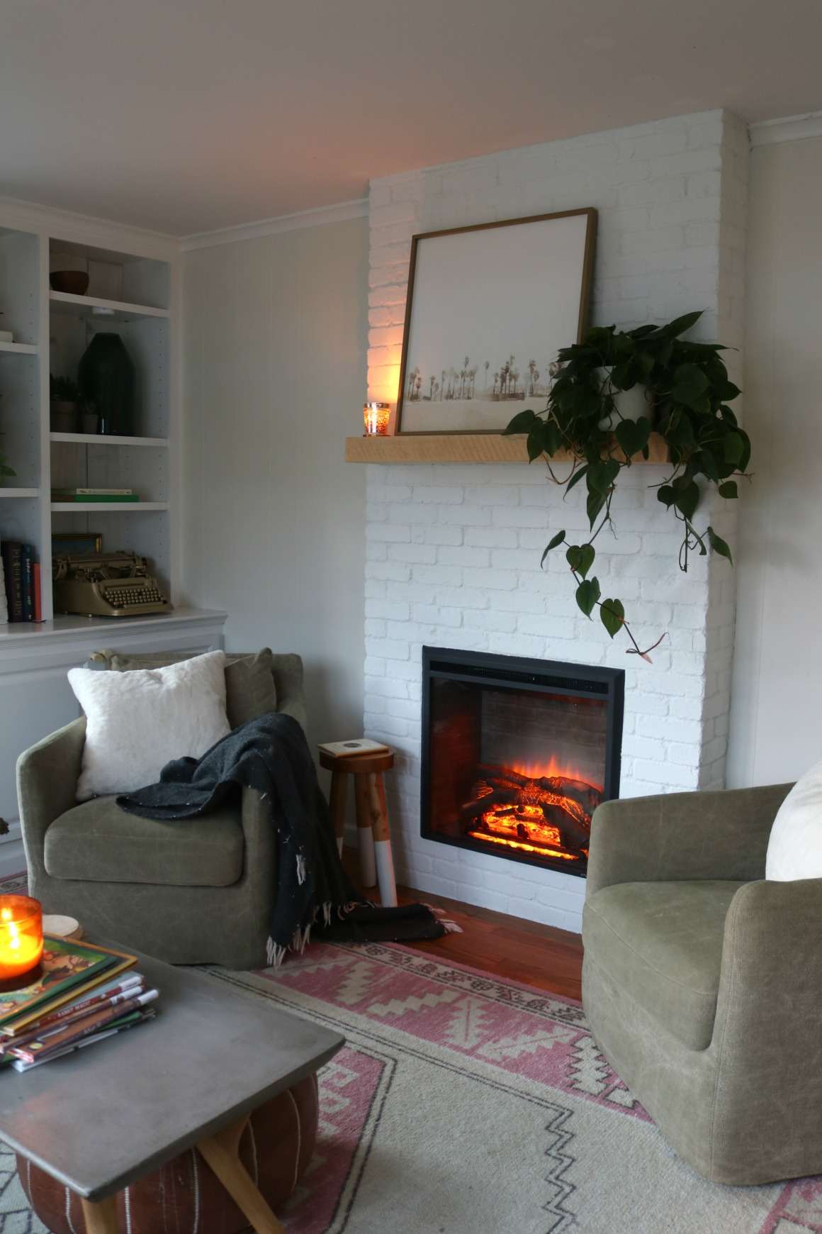 Living Room Electric Fireplace Fireplace Reveal Our Electric Brick Fireplace Nesting With Grace