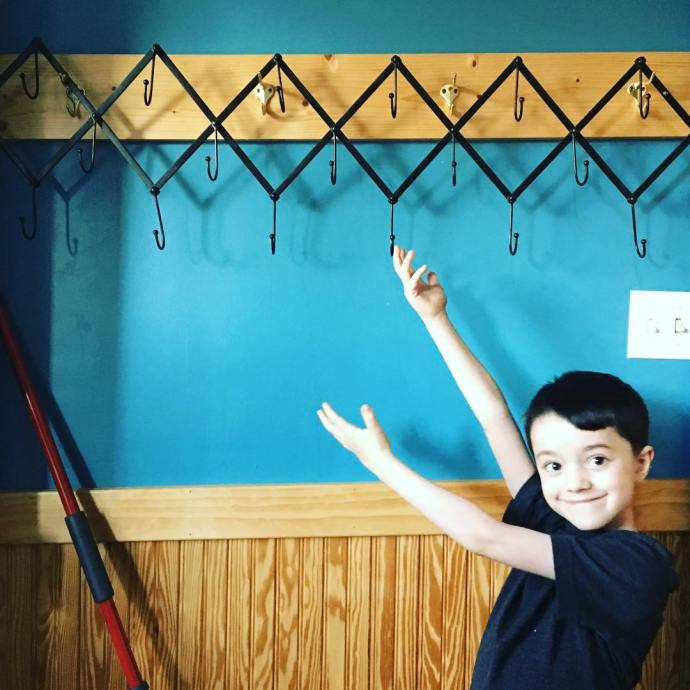 Woozle likes the new back stairwell coat hooks we pickedhellip