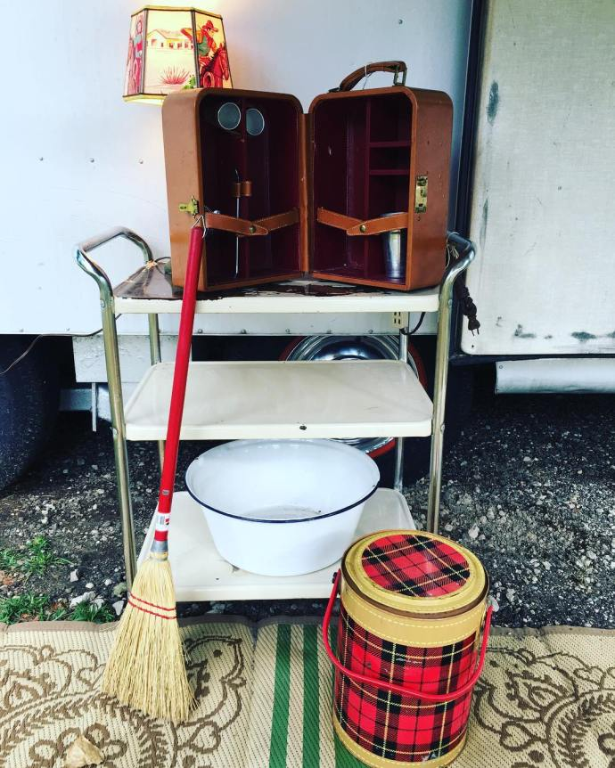 All the vintage camper people have these old kitchen cartshellip