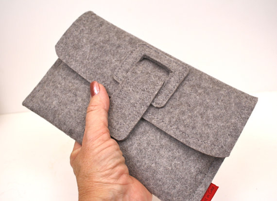 Kindle3, Kindle Touch, Kindle Fire Case Wool Felt Granite with Strap and Side Load