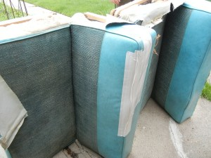 Reupholstering the vintage dinette cushions from our Shasta Airflyte