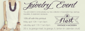 This weekend's jewelry event! And furniture painting classes!