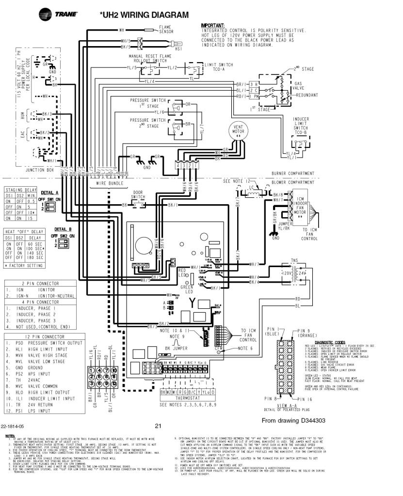 trane gas furnace thermostat wiring diagram