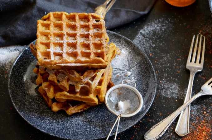 Pumpkin waffles with chilli flakes