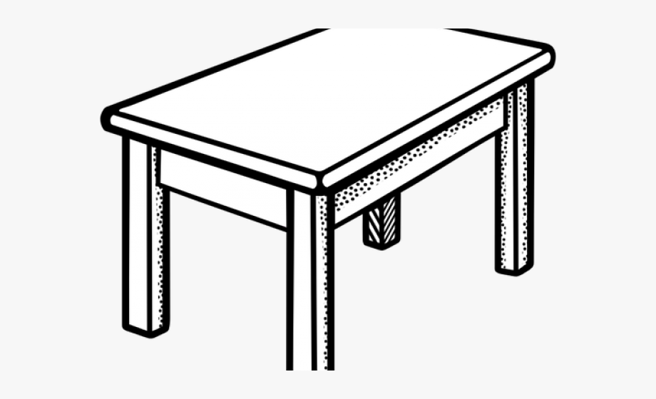 Dining Table Clipart Meja Desk Clipart Black And White - Tischclipart