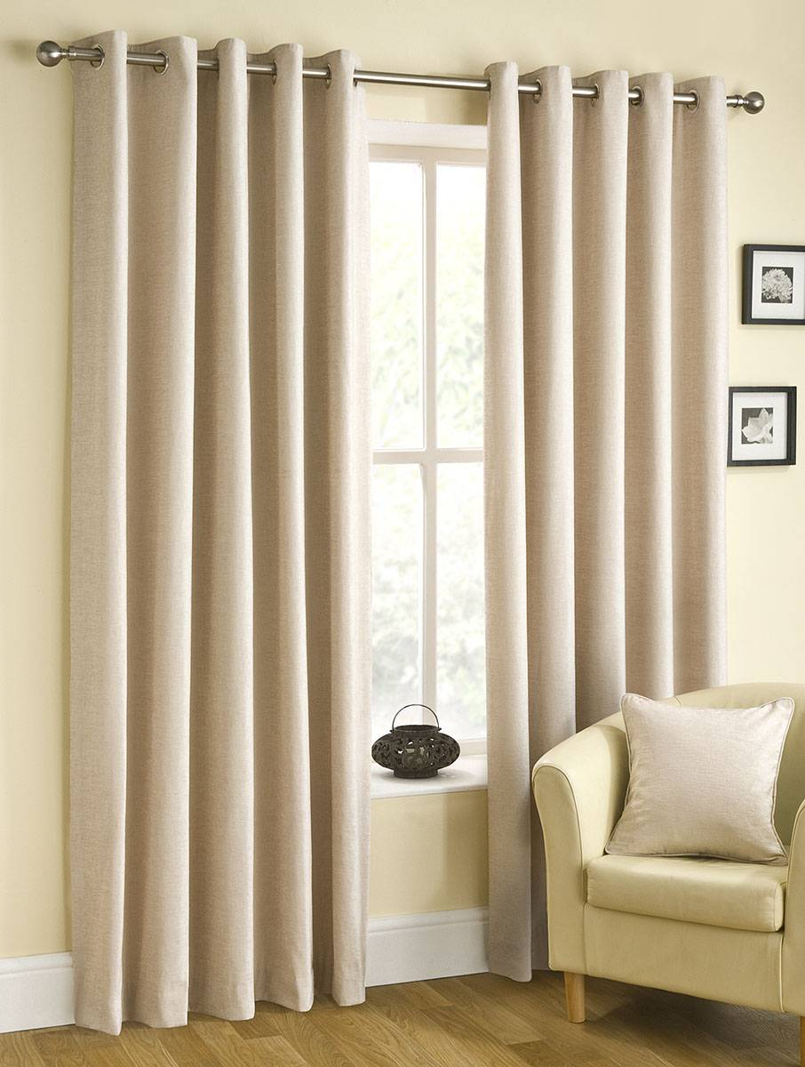 Ready Made Curtains 108 Drop Belfield Rico Colour Champagne Chenille Eyelet Top Curtains Priced
