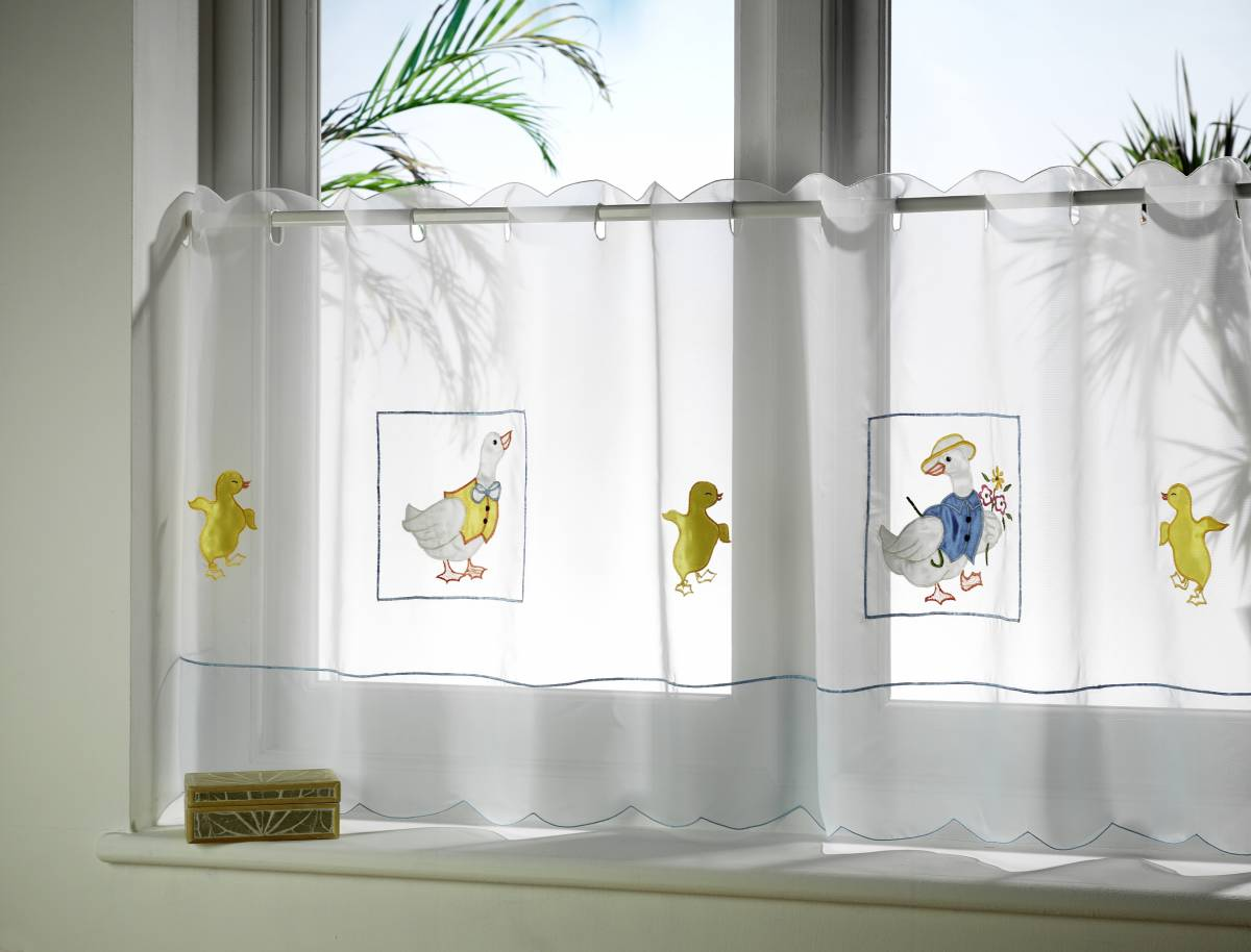 Cafe Curtain Clips Ducks Embroidered Cafe Curtain Panels Each Curtain 59 Net