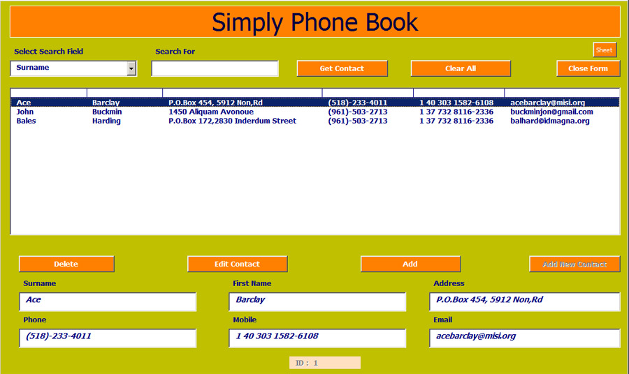 Excel Phone Book and Contact Manager Net MerkezAdvanced Ms Excel