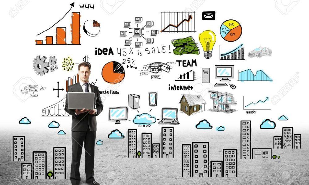 18039723-homme-d-affaires-avec-ordinateur-portable-et-le-plan-d-affaires-Banque-d'images