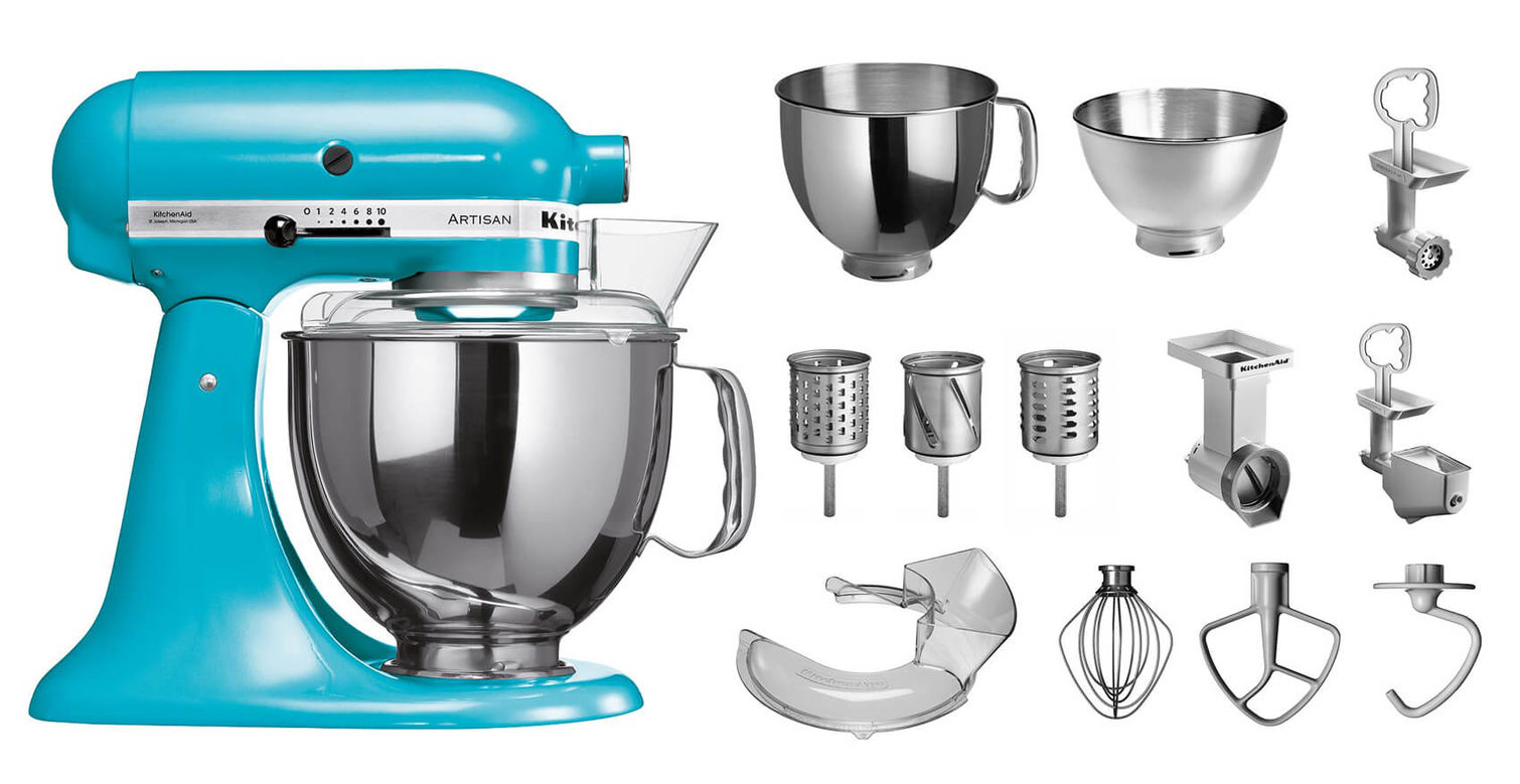 Kitchenaid Küchenhelfer Kitchenaid Ksm150 Küchenmaschine Cristallblau Professional Set