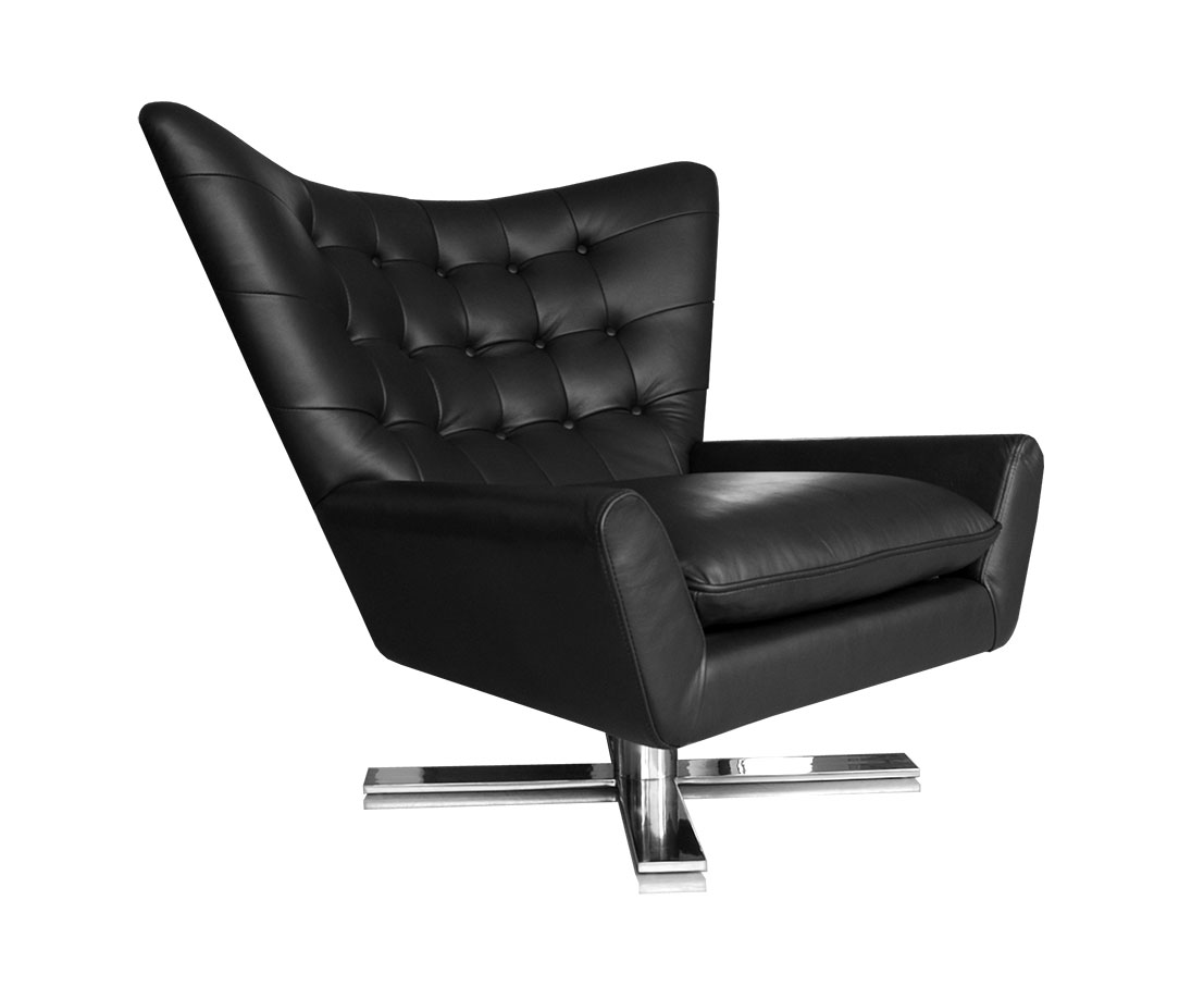 Leder Ohrensessel Swivel Armchair Leather Black Stainless Steel Base