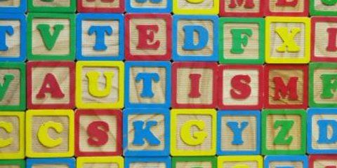 The image shows the word Autism spelled out in building blocks.