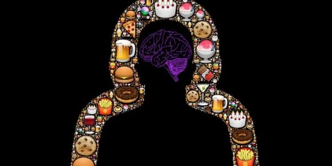 This image shows the outline of a person surrounded by fast food icons. In the head space is the outline of a brain in purple.