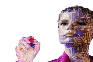 This shows a woman with computer chips overlayed.
