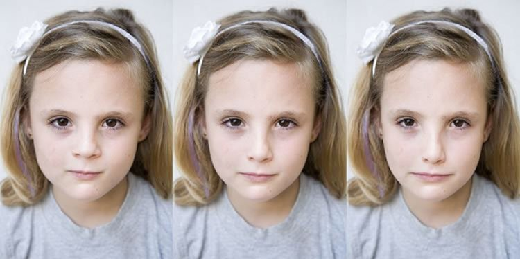 Image shows 3 pictures of a young girl.