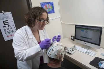 Image shows a the researcher putting an EEG onto a test subject.
