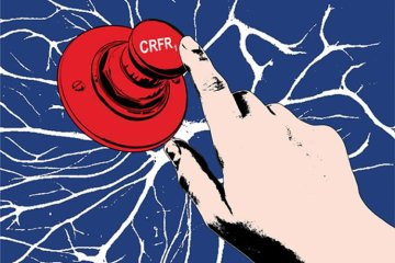 Image shows a button with CRFR1 written on it.