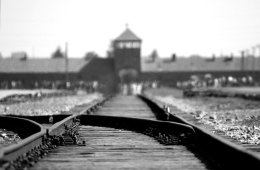 Image shows the main entrance of Auchwitz and the train track.