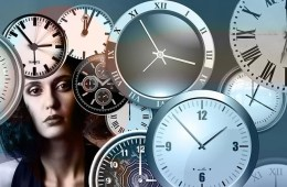 Image shows a woman and clocks.