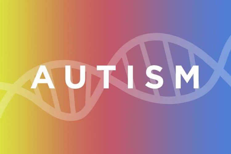 Image shows a dna strand and the word autism.