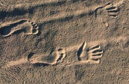 Image shows hand and foot prins in sand.